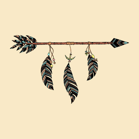 ethnical: Hand drawn arrow in ethnical pattern with feathers Illustration