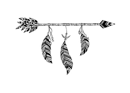 Hand drawn arrow in ethnical pattern with feathers