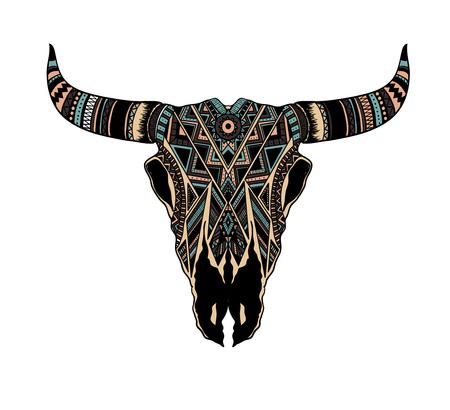 dibujado a mano del cráneo del búfalo del nativo americano tótem
