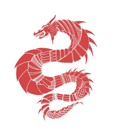 Drenaje de la mano ornamentales Ilustración del esquema de dragón con ornamentos decorativos. Foto de archivo - 53112933