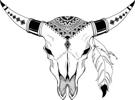 longhorn: Hand drawn Buffalo Skull Native American Totem