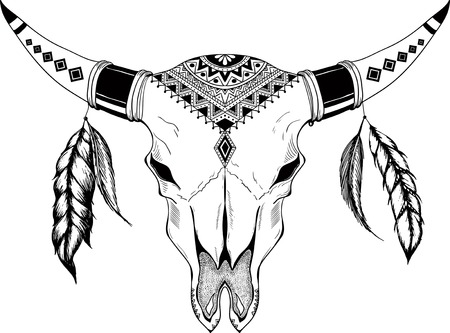 Hand drawn Buffalo Skull Native American Totem