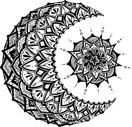 sun moon: Moon and Sun on black background. Vector illustration Illustration