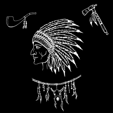 native american indian chief: Man in the Native American Indian chief.  Indian feather headdress of eagle.  Hand draw vector illustration