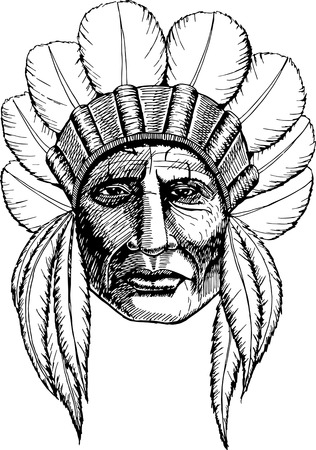 Man in the Native American Indian chief.  Indian feather headdress of eagle.  Hand draw vector illustration