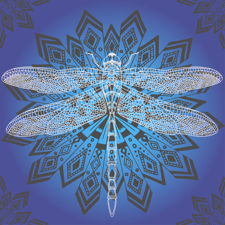 white dragonfly on blue background . Hand-drawn vector illustration.