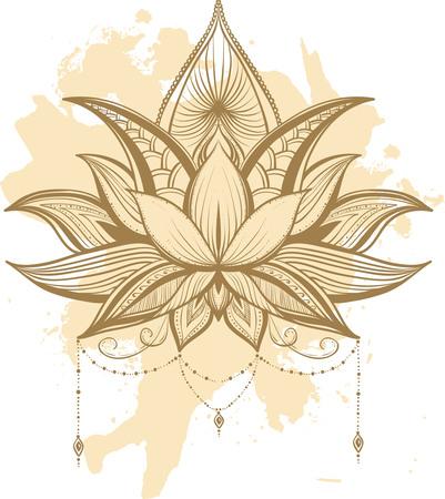 Filigree lotus flower, black vector handdrawn illustration