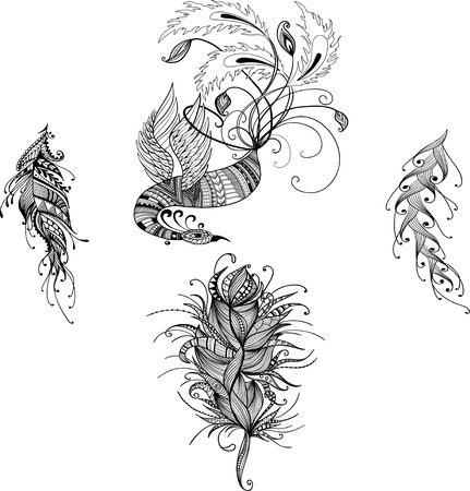 tough luck: Oriental handdrawn vector phoenix in doodle style with feathers