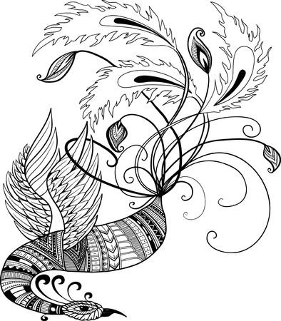 tough luck: Oriental handdrawn vector phoenix in doodle style