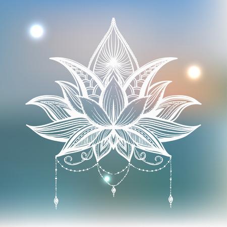 filigree: Filigree lotus flower, vector hand drawn illustration Illustration