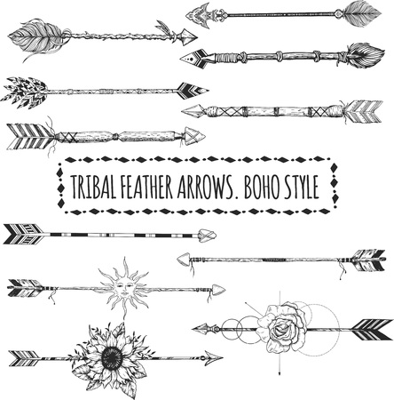 Tribal arrow set in ethnical pattern with feathers, sun face and wild flowers