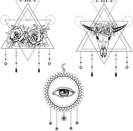 All-seeing eye symbol. Sacred geometry, third eye, buffalo skull, roses. Tattoo design, mystic symbol. Boho hipster design. Illustration
