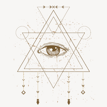 chakra energy: All seeing eye symbol and sacred geometry in gray background. Illustration