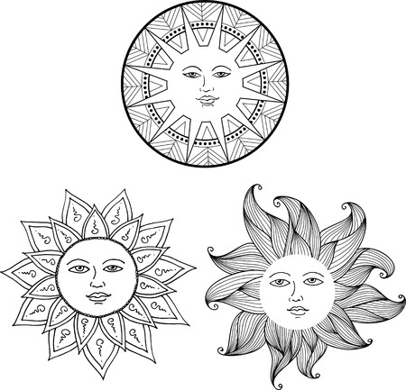 Vector illustration set of Sun with face on ornament Stock Vector - 74555391