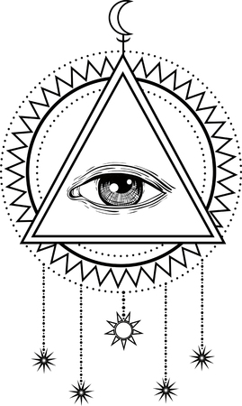 All Seeing Eye Symbol And Sacred Geometry Royalty Free Cliparts