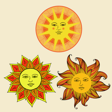 Vector illustration set of Sun with face on ornament