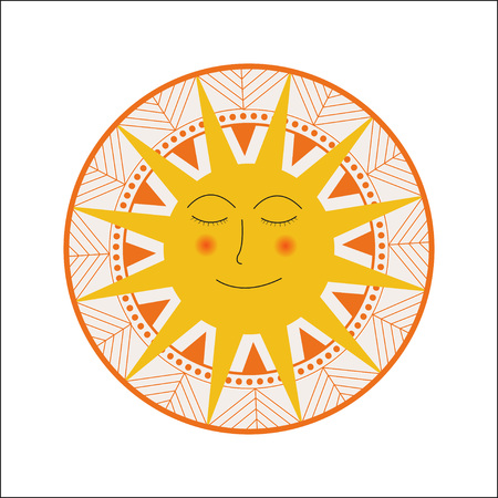 Vector illustration of Sun with face on ornament
