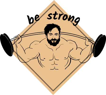 Cartooned bodybuilder lifting weights with barbell and dumbbell for sports design