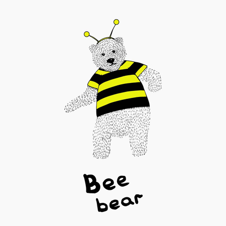 Hand drawn dancing bear in bee costume. Illustration