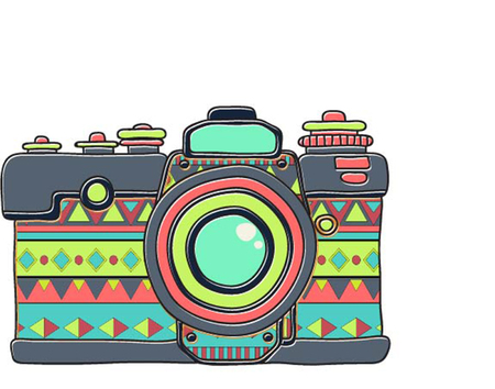 oldie: Vector retro hand drawn hipster photo camera. Vintage illustration for design, print for t-shirt, poster, card.