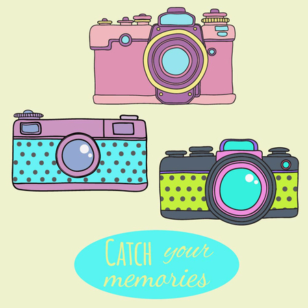 Vector retro hand drawn hipster photo camera. Vintage illustration for design, print for t-shirt, poster, card.