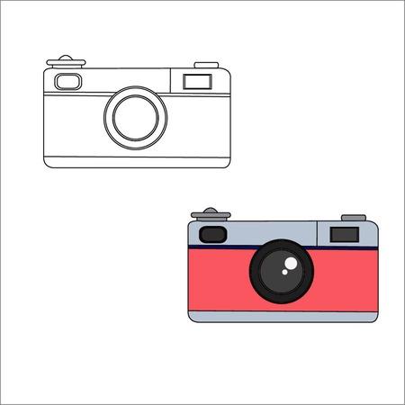 old photograph: Camera retro vintage style icon flat design vector illustration
