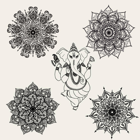 shree: Sitting Lord Ganesha, vector illustration.