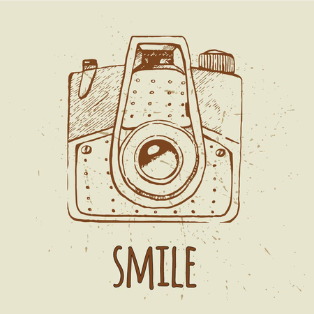 old photograph: Vector retro hand drawn hipster photo camera. Vintage illustration for design, print for t-shirt, poster, card.
