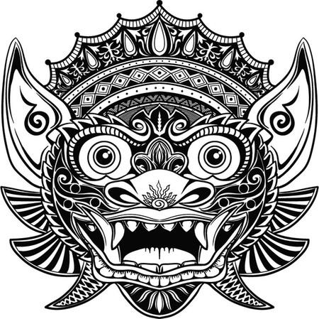 伝統的なバリのマスクの儀式。分離した塗り絵のベクトル アウトライン イラスト。