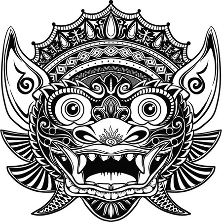 Traditional ritual Balinese mask. Vector outline illustration for coloring book isolated. Illusztráció