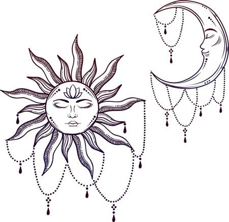 Vector illustration of Moon and Sun with faces Vector Illustration