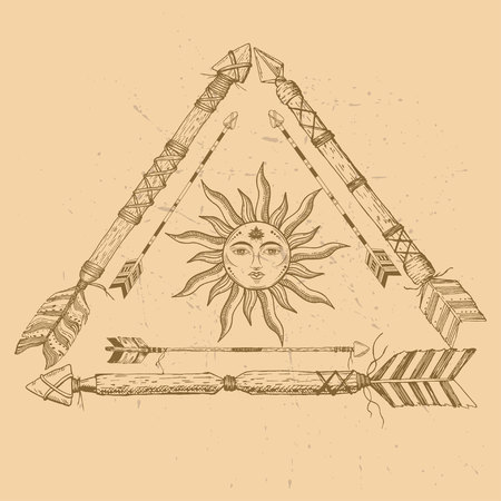 Tribal arrow in ethnical pattern with feathers, sun and third eye