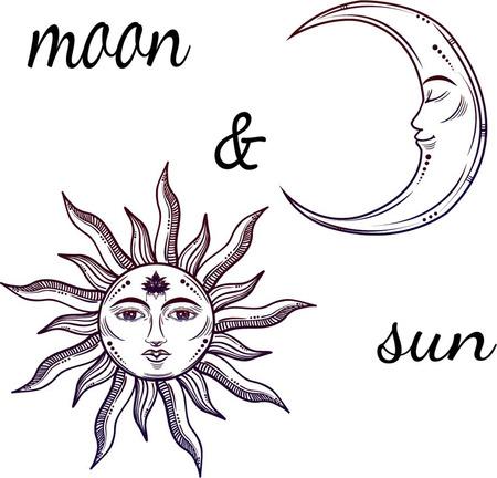Illustrazione vettoriale di Luna e Sole con i volti Vettoriali