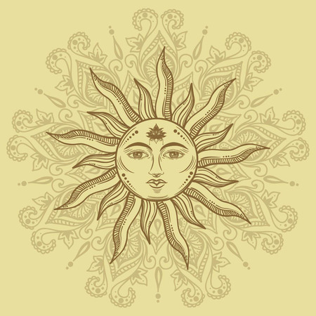 Beautiful romantic elegant sun face symbol Tattoo design.Vector illustration. Alchemy symbol on manala background 矢量图像