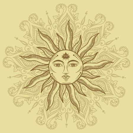 Beautiful romantic elegant sun face symbol Tattoo design.Vector illustration. Alchemy symbol on manala background Illustration