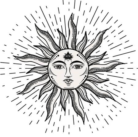 Bello romantico elegante simbolo del sole sun Tattoo design.Vector illustrazione. Simbolo dell'alchimia Vettoriali