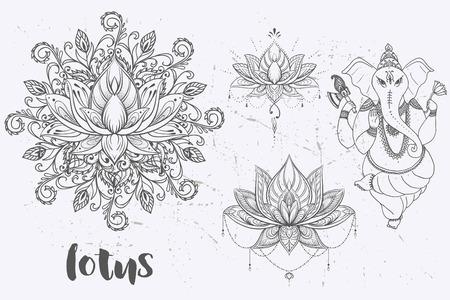 만다라 세트 및 다른 요소입니다. 벡터. 만다라 문신. , boho 스타일, 만화경, 메달, 요가, 인도, 아랍어. 원형 패턴, 문신 스케치