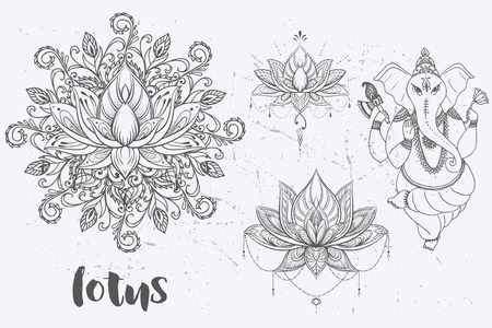 Mandala set and other elements. Vector. Mandala tattoo. , boho style, kaleidoscope, medallion, yoga, india, Arabic. circular pattern, sketch for tattoo Ilustrace