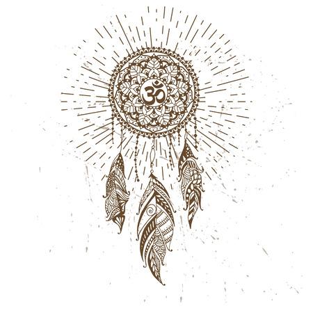 Hand-drawn mandala with dreamcatcher and om sign. Ethnic illustration, tribal 免版税图像 - 84803211