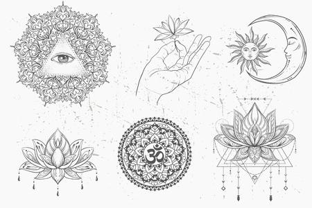 reiki: Mandala set and other elements. Vector. Mandala tattoo. , boho style, kaleidoscope, medallion, yoga, india, Arabic. circular pattern, sketch for tattoo Illustration