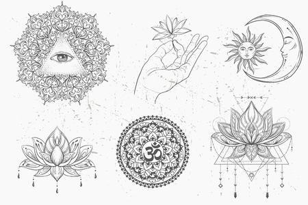 Mandala set and other elements. Vector. Mandala tattoo. , boho style, kaleidoscope, medallion, yoga, india, Arabic. circular pattern, sketch for tattoo Illustration