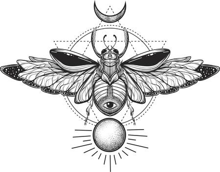 Illustrazione di bug di disegno del tatuaggio del Scarab.