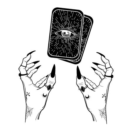 黒の爪、リング、マジック ボールと魔女の手。自由奔放に生きるスタイル。