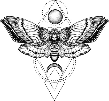 black and white deadhead butterfly on sacred geometry vector illustration Vettoriali