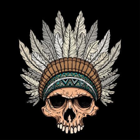 Hand drawn native american Indian headdress with human skull.