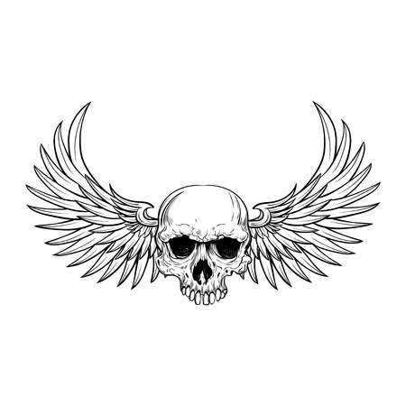 Human skull with wings for tattoo design. Illustration