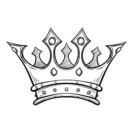 Dibujado a mano rey corona Ilustración de vector