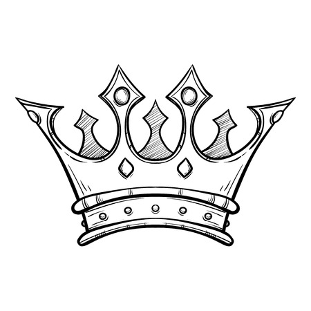Hand drawn King crown Stock Illustratie