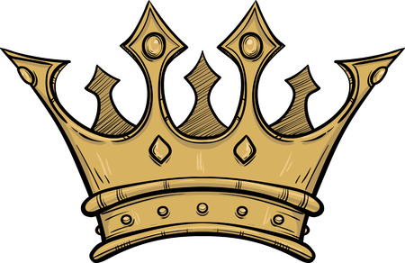 Golden king crown. Hand drawn vector stock illustration. Black and white whiteboard drawing.