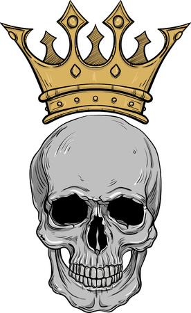Cráneo De Dibujo Colorido Mano Dibujada Con Corona Para Tatuaje